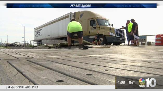 Unlucky Driver Gets Big Rig Stuck On Boardwalk