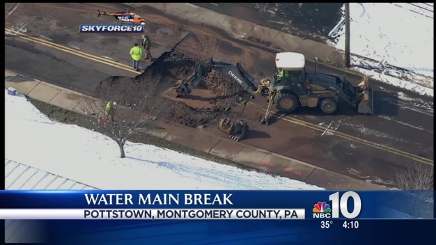 Crews Work to Repair Water Main Break in Pottstown