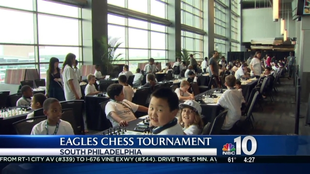 Philadelphia Eagles Play Chess With Children