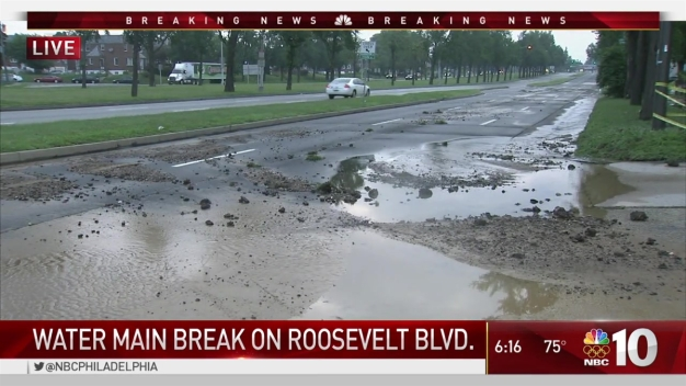 Water Main Break on Roosevelt Boulevard