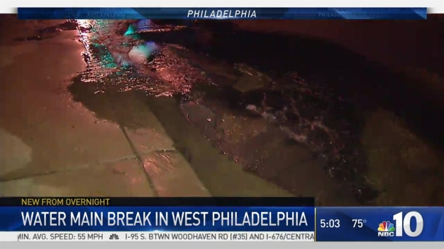West Phillly Water Main Break Floods Street