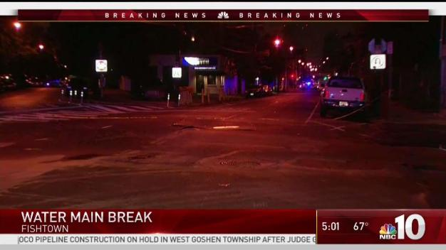 Water Main Break Closes Roads in Fishtown