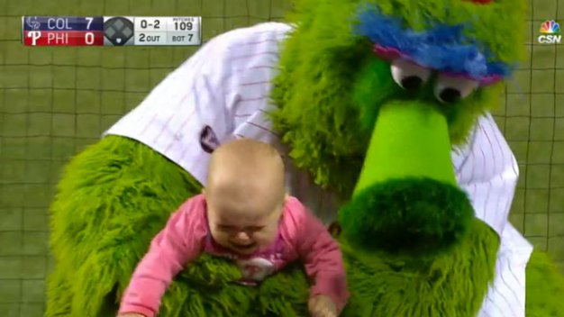 The Phillies Season in One Video: 'Phanatic Tries to Comfort Crying Baby'