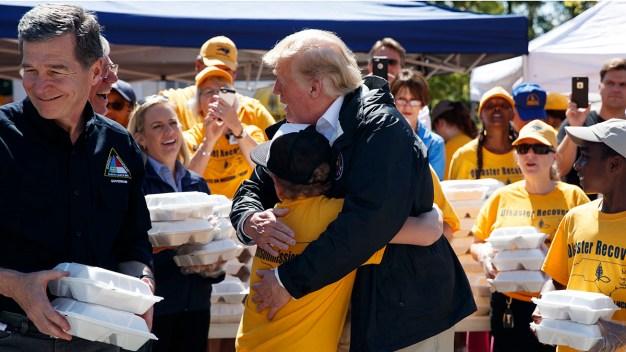 Trump Comforts Storm-Ravaged Carolinas With Hot Dogs, Hugs