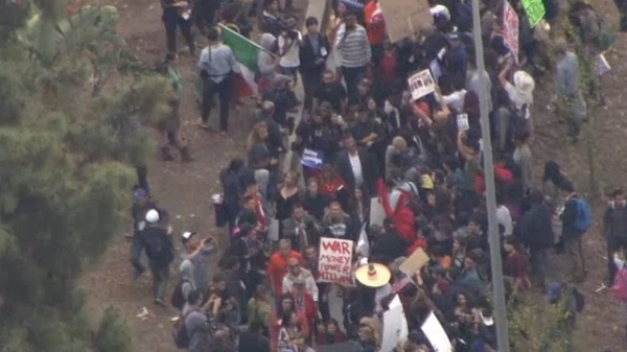 Protesters Gather Outside Clinton Rally in LA