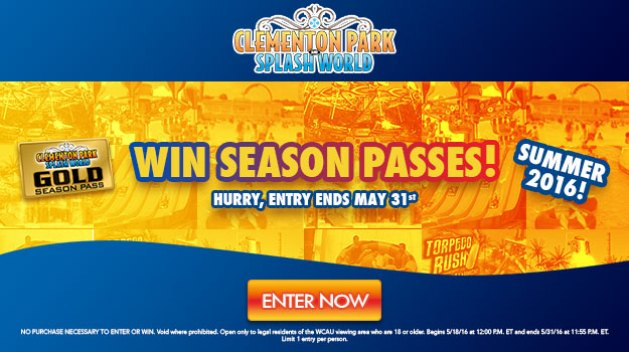 Clementon Park and Splash World Sweepstakes 2016