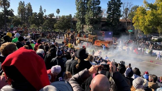 Rose Parade Float Catches Fire