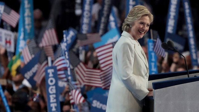 'Late Night': Closer Look at Clinton Accepting Nomination