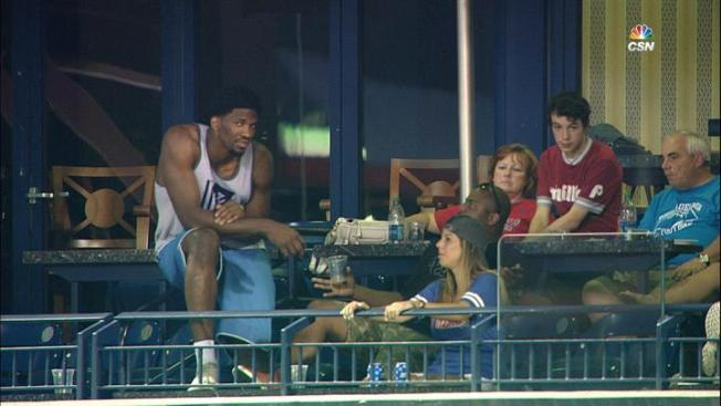 Watch: Joel Embiid Shows Off His Guns at Phillies Game
