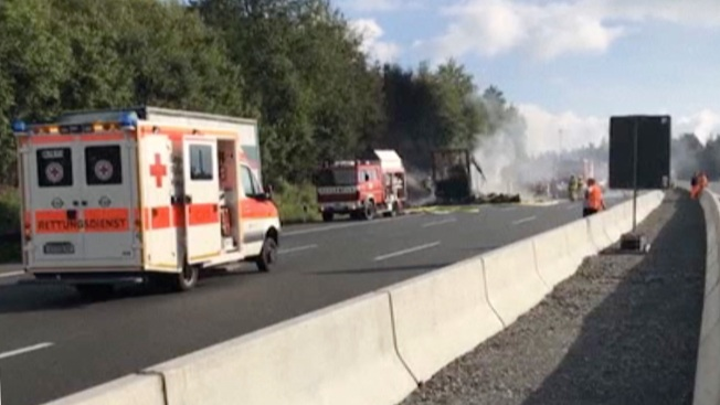 18 Believed Dead After Bus Crashes, Catches Fire in Germany: Police