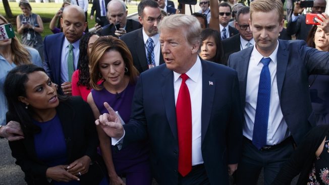 Trump Calls Comey 'Criminal,' Admires Attention Given to Kim in Freewheeling Interviews Outside White House