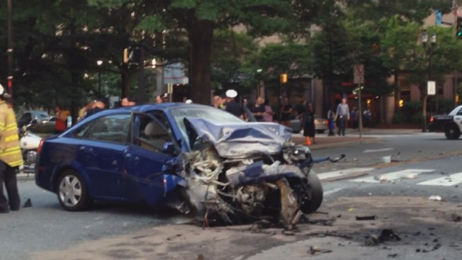 Firefighter Hurt After Car Slams Into Fire Truck During Police Chase