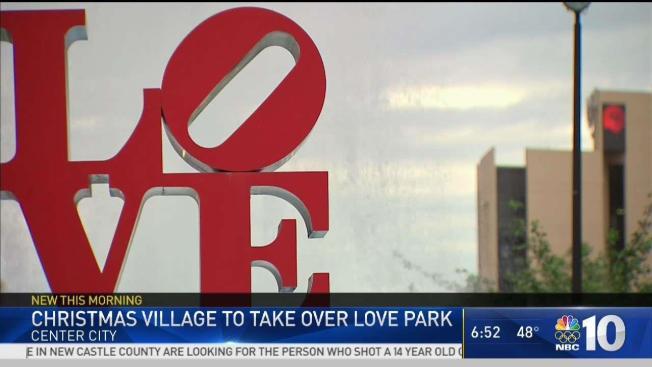 christmas village returns to renovated love park
