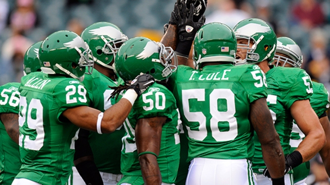 5298c268646 ... with Kelly green throwback jerseys, but team owner Jeffrey Lurie  remains bent on making the historic uniforms part of the Eagles' regular  wardrobe.