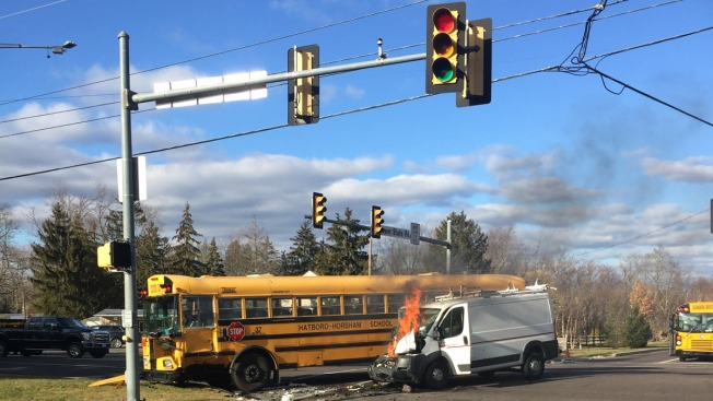 1 Hurt in Fiery Crash Involving School Bus and Van