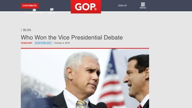 RNC Website Declared Mike Pence the Winner of the VP Debate, Hours Before It Started