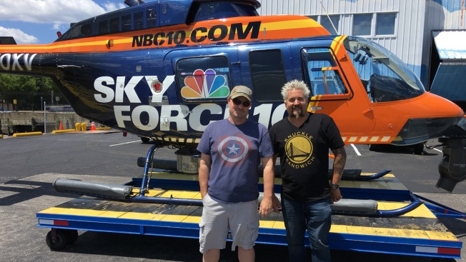 Guy Fieri Gets a Tour of NBC10's Skyforce10