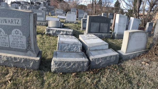 Up to 100 gravestones vandalized at Jewish cemetery in Philadelphia