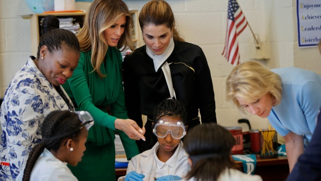 Melania Trump, Jordan's Queen Tour Girls-Only Charter School