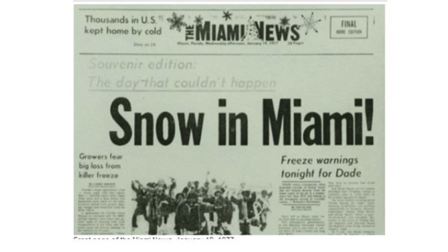 Snow in Miami: Glenn Reflects on 'Freakish' Event 40 Years Later