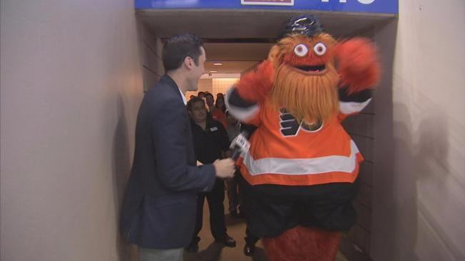 gritty the flyers new mascot is up to all sorts of shenanigans on