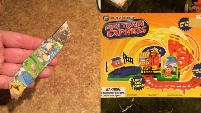 Toddler Finds Razor Blade Inside Toy Train Set
