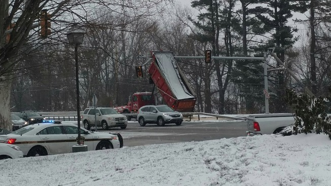 Salt Truck Crashes Into Power Lines and Traffic Lights in Chadds Ford