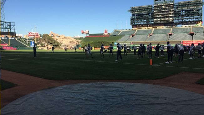 A Look Into the Eagles' First Practice at Angel Stadium in Anaheim