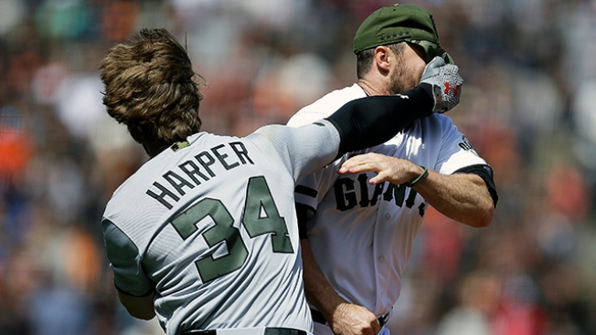 Basebrawl! Bryce Harper Fights Giants' Hunter Strickland After HBP