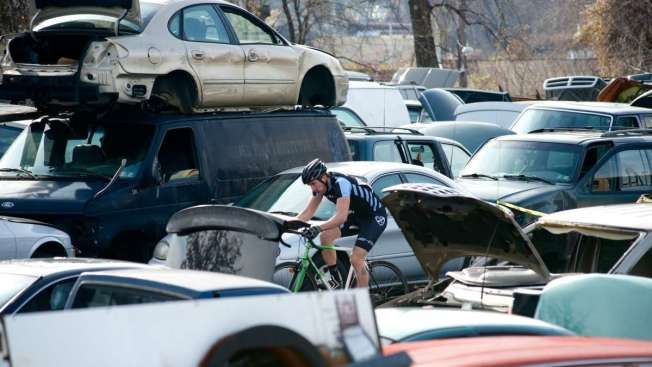 Extreme Cyclist Cross and Crash at N. Philly Junkyard