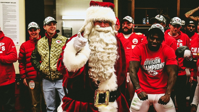 Big Red Santa Celebrates Chiefs Divisional Crown