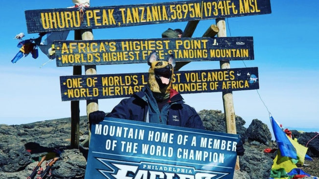 Chris Long - and His Underdog Mask - Reach Top of Mt. Kilimanjaro