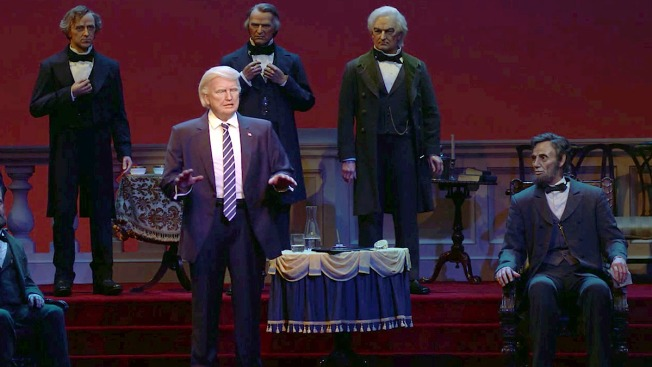 'I'll Never Get This Close in Real Life Probs': Heckler Takes on Animatronic Trump