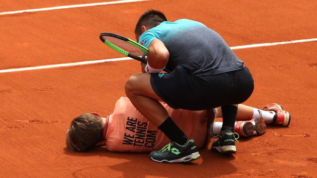 Bosnian Tennis Player Collides With Ball Boy at French Open