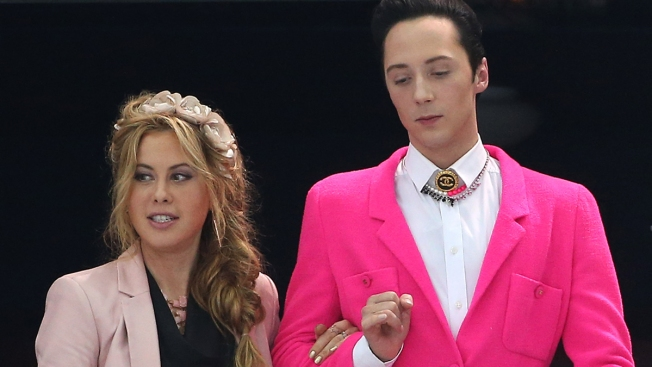 Johnny Weir's Red Flower Pin, Pink Blazer Turn Heads in Sochi