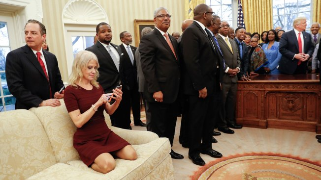 Too Casual? Kellyanne Conway Kneels on Oval Office Couch, Sparks Debate