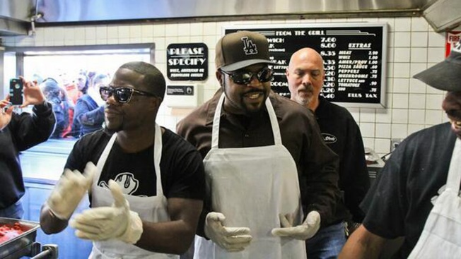 Kevin Hart, Ice Cube Giveaway Cheesesteaks