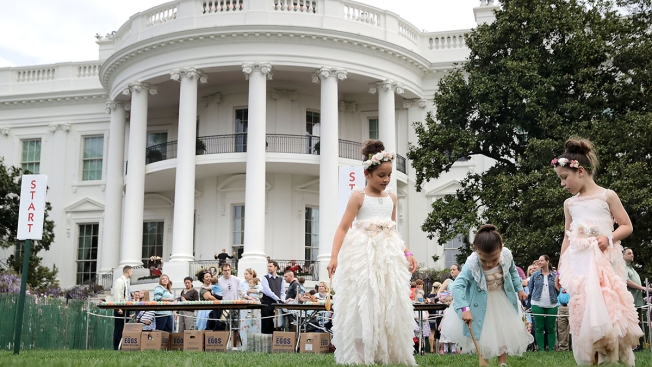 Donald Trump Sprouts Bunny Ears At White House Easter Egg Roll