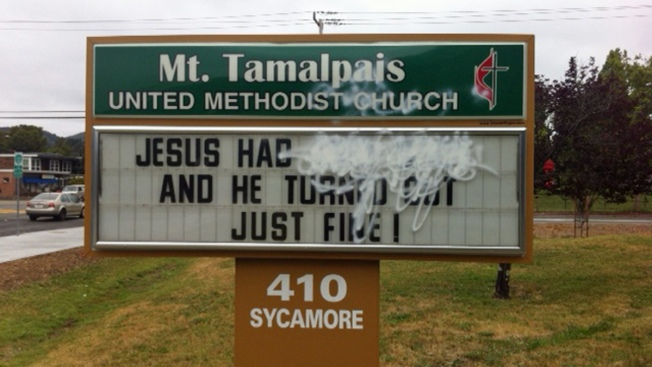 """Jesus Had Two Dads and He Turned Out Just Fine"": Vandals Alter Mill Valley Church Sign"