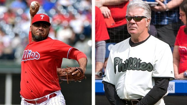Reliever Joaquin Benoit Gives Manager Mackanin a Thumbs-up for Calling Team Meeting