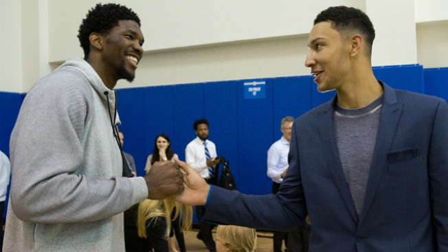 Joel Embiid, Ben Simmons Trust the NFL Draft Process on the Parkway