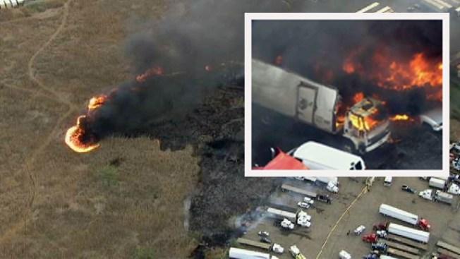 Brush Fire Burns Trucks in NJ