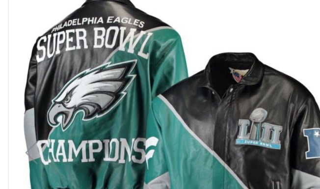 3f5cae268ab 5 Things You Need To Know About Baby Powder. CSNPhilly.com. Leather Eagles  Super Bowl jacket ...
