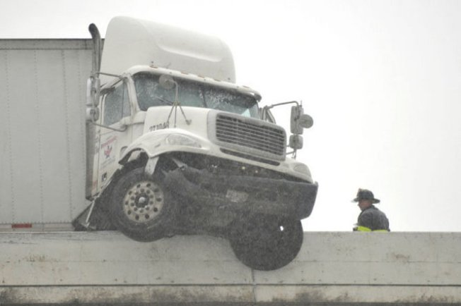 Big Rig Crashes on I-78, Hangs Off Overpass