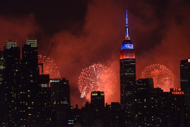Fireworks, Empire State Building Lit Scarlet to Celebrate Rutgers University's 250th Birthday