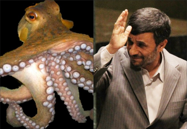 Ahmadinejad declares War .... on an Octopus