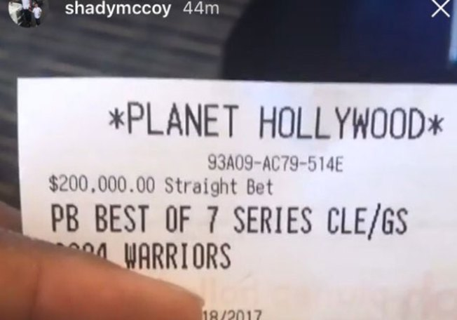 Shady McCoy Poised to Win Crazy Money on Warriors Winning the NBA Finals