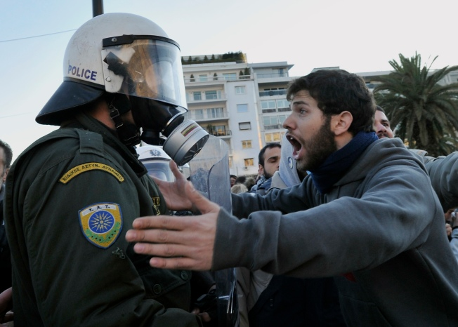 Cops Clash With Protesters in Athens