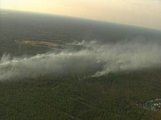 Firefighters Battle Brush Fire In South Jersey