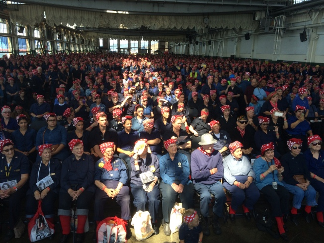 Women Dressed as Rosie the Riveter Set Guinness Record